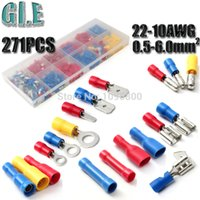 Wholesale free freight271pcs models Insulated Terminals Electrical Crimp Connector Butt Spade Ring With Case mm AWG DIY Electrician