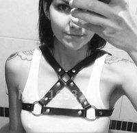 Cheap Men Women Unisex 100% Handmade O-Round black Leather Halter Top Body Bondage Cage Sculpting Harness Corset Belt