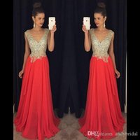beaded sheer fabric - Crystal Beading Prom Dresses Red Formal Evening Party Gowns With Beading A Line V Neck Backless Floor Length Chiffon Fabric