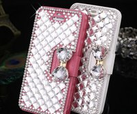 rhinestone cell phone cases - New Iphone S Plus Leather Rhinestones Cell phone cases Mobile accessories Rhinestones cell phone shell Gift P081