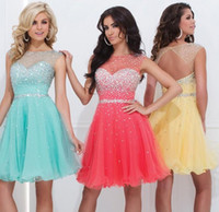 Discount jewel neckline homecoming dress - Short party Dresse Cocktail Graduation Dresses 2015 Sheer Crew Neckline Open Back With Crystal Summer Homecoming dress