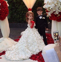 Wholesale Real Picture Luxury Princess Ball Gown Flower Girl Dresses With Flowers Handmade First Communion Dresses For Girls Vestido de Festa longo