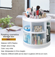 Wholesale 6 Degree Rotating Acrylic Makeup Organizer Case Holder Creative Round White Cosmetics Storage Box Wholesales L0033X