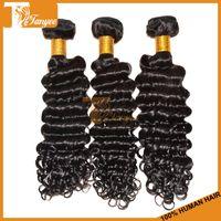 Natural Color 100g Deep Wave Grade 7A Deep Wave Hair Extensions Unprocessed Brazilian Virgin Hair 3 Bundles Human Hair Weave Cheap Remy Hair Weft Can Dye Bleach
