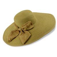 Cheap 20pcs lot Elegant Bowknot Straw Hats Wide Brim Floppy Caps Women's Outdoor Sun Proctection Accessories HA101