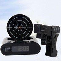 novelty clocks - Novelty gadget Infrared Laser Target Gun Shooting Alarm Clock Digital With Red LED backlight Cool Gadget Toy