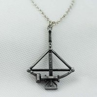 amc silver - Hot movie jewelry AMC The Walking Dead Crossbow Pendant Necklace Fight the Dead Fear the Living fashion necklace