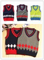 Cheap Children Vests crochet v-neck kids clothes cotton knitted sweater vest pullover vest Korean style 3 colors fit 1-4T