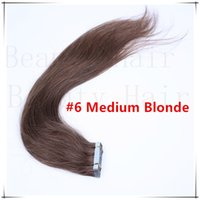 tape hair remy - Tape In Remy Hair European Virgin Straight Pu Skin Weft Hair Extensions Adhesive Double Drawn Human Hair