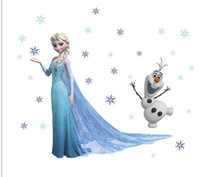 Wholesale New Arrival ZY1433 Frozen Movie Wall Stickers Elsa Olaf Wall decals Romance children s room nursery removable PVC wall stickers home decor