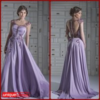 Wholesale Lilac Charming Sheath Sheer Scoop Sweep Train Lace Stretch Satin Covered Buttons Evening Dresses Red Carpet Dresses