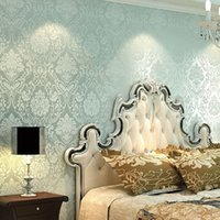 Wholesale 1pcs Europe Fashion style Embossing wallpaper colors Modern Damask Non woven wallpaper For Living Room Bedroom m Roll