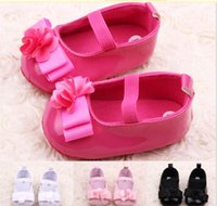 Wholesale 2015 New Style Top Quality Leather Girls Newborn Baby Prewalker Princess Shoes Infant Toddler Mary Janes bowknot First Walkers Shoes