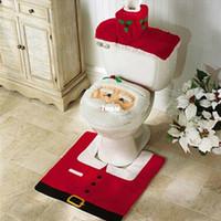 bathroom foot - Happy Santa Toilet Seat Cover Rug Bathroom Set Christmas Decorations