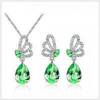 austrian crystal teardrop earrings - TOP Fashion austrian crystal jewelry sets necklace and earrings Full Rhinestone teardrop crystal jewelry For Woman AA0628