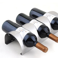 Wholesale Stainless Steel Creative Wine Holder Wall Mounted Wine Stand Metal Hanging Wall Wine Rack box packing