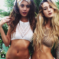 Wholesale 2015 Sexy Crochet Crop Top Summer Handmade Knit Beach Camis Boho Bikini Crop Top Halter Crochet Tank Top YWE0011