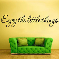 best price wallpaper - Best Price Art Words Wallpaper Enjoy the Little Things Characters Removable Art Decal PVC Wall Sticker Bedroom Home DIY Decor