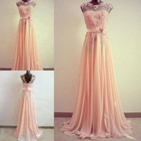 Wholesale 2014 Elegant Pink Prom Dresses Scoop Sheer A Line Cap Sleeve Hand Made Flower Formal Dresses Appliques Zipper Chiffon D197
