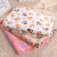 Wholesale Hot Pet mats thick blanket Cat Dog Puppy Kitten Warm Waterproof Fleece Soft Blanket Bed Mat Paw Print