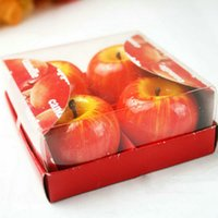 apple christmas decorations - 4pcs SET Christmas Red Apple Shape Fruit Scented Candle Home Decoration Greet Gift L025