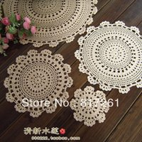 Wholesale Knitting Doily - Wholesale-Free shipping 10 pics white handmade knitted rustic plate placemat zakka fashion cup mat 15- 50cm coaster flower doily