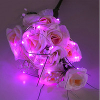 Wholesale 2M leds pink submersible led tiny micro wire string lights coin battery operated led light string for wedding vase flower decoration