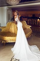 Wholesale 2014 High Collar White Lace Mermaid Wedding Dresses Open Backless Dimitrius Dalia Chiffon Court Train Bridal Gowns Ruched
