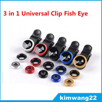 Cheap Factory price 3 in 1 Universal Clip Fish Eye Wide Angle Macro Phone Fisheye camera Lens For iPhone Samsung htc lg