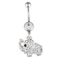 bell elephant - Belly Button Navel Rings Body Piercing Jewelry Dangle Accessories Fashion Charm Elephant Dangle Belly Rings Piercings Helix