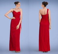Wholesale Elegant Red One shoulder Empire Chiffon A line Evening Gowns with Beaded Ruffle Motif Sleeveless Zipper Ankle length Prom Dresses X2313