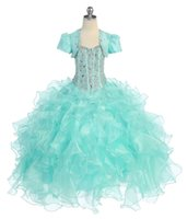 Real Photos dresses shop - Glitz Cupcake Pageant Dress Turquoise Organza Flower Girls Gowns With Jacket Beaded Crystals Kids Interview Suits Ball Gown On Line Shop