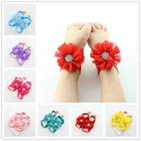 Wholesale Hot Baby girls Barefoot Sandals baby Shoes diamond chiffon Flower baby PreWalker Infant Toddler Shoes Foot Ties