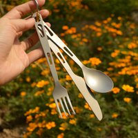 Wholesale JIAXINTI Ultralight Three Pieces Cutlery Outdoor Titanium Tableware Set Spoon Fork Knife for Camping Birthday Gift Christmas Gift