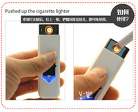 Wholesale usb cigarette electronic lighter Portable Rechargeable Battery Cigarette Flameless Lighter with flash Mix Order windproof colors