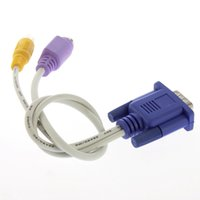 Wholesale High QualityNew VGA to TV Converter S Video RCA OUT Cable Adapter High Quality