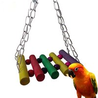 Wholesale Parrot Swing Bird Toy Colorful Wooden Rat Mouse Hamster Hanging Hammock Birds Cage Toys Brinquedo Hamster