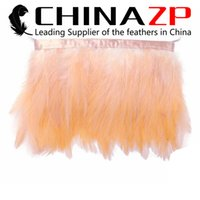 Wholesale Leading Supplier CHINAZP Crafts Factory Price for Per Yard Good Quality Dyed Peach Rooster Chicken Neck Hackle Feathers Trimming