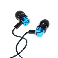 Wholesale MP3 mp4 Roping Stereo Subwoofer Earphone In Ear Headphone Earbud M Reflective Fiber Cloth Line Metal Earphone