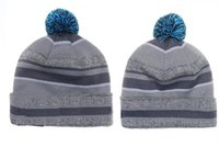 Wholesale Carolin Beanies Sport Pom Pom Knit Beanies Pantherss snapback For Men Cheap Panther Football Beanies Women Winter Hat Warm Knitted Hat