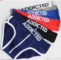 Wholesale New arrive Men s Underpants ADDICTED Male Underwear Men s Breathable Briefs Men s Cotton Underpants color