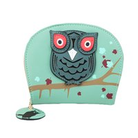 leather owl purse - S5Q New Brand Fashion Women Cute Owl Print PU Leather Short Card Holder Wallet Zipper Clutch Purse AAAFAH