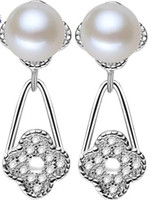 Wholesale chaming silver clover natural white pearl lady s earings lhpmz jghf