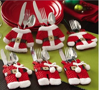 Wholesale 2015 Hot Sale Mini Christmas Santa clothes tableware Kitchen Cutlery Suit Holders Porckets Knifes and Folks Bag bottle bag clothes and pant