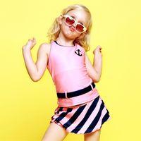 Wholesale 2016 New Fashion Little Girls Princess Swimwear Sets Colors Kids Sports Cartoon Skirt Swimsuit Childrens Girl s Swimdress