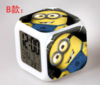 Wholesale Mini order piece night colorful glowing color alarm clock D Cartoon Minions Despicable Me LED Change Digital Alarm Clock Thermometer
