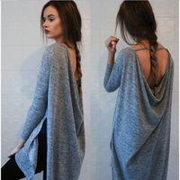 tunic shirt - Womens Fall Fashion Clothing sexy backless Grey Loose Boho Vestidos Dress Ladies Tunic Long Sleeve Dress