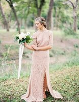 Wholesale Dreamy Country Lace Wedding Dresses High Neck Half Sleeves Sweep Train Open Back Sexy Split Boho Wedding Dresses Sheath Bridal Gowns