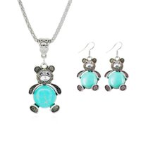 bear turquoise jewelry - 2015 New Bear Turquoise Jewelries Sets Silver Plated Stud Earrings Chain Lovely Pendants Fashion Luxury Fine Jewelry