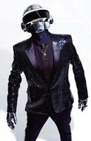 daft punk - New Arrival Custom made Daft Punk Sparking Black Sequin Performance Jacket Cosplay Costume